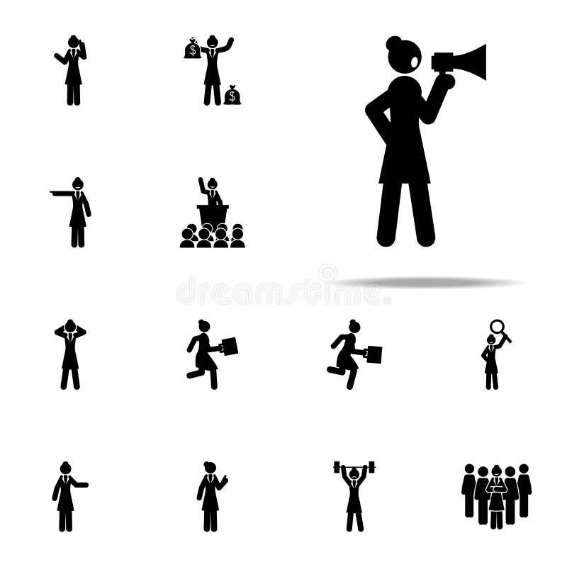 affärskvinna megafonsymbol universell uppsättning för affärskvinnasymboler för rengöringsduk och mobil stock illustrationer