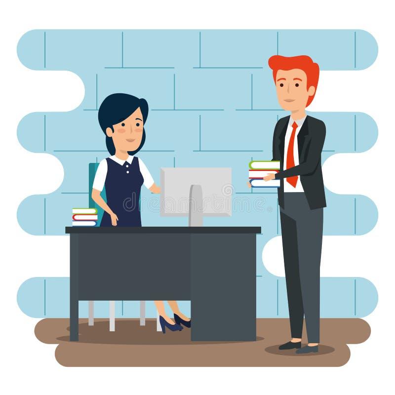 Affärskvinna och affärsman i kontoret med bokplan stock illustrationer