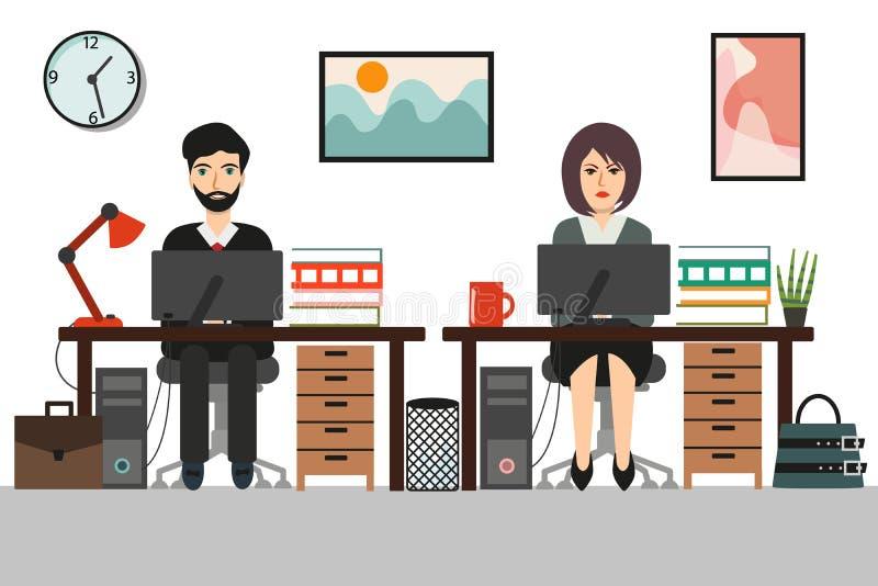 Affärskvinna och affärsman på det arbetande kontorsskrivbordet royaltyfri illustrationer