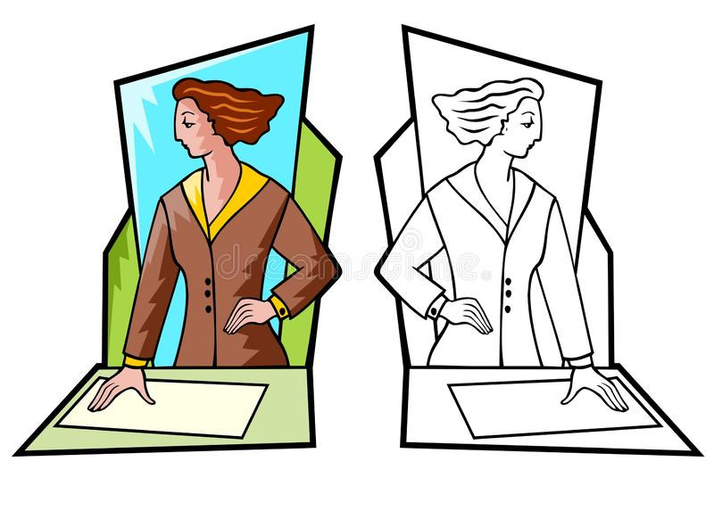 Affärskvinna på arbete vektor illustrationer