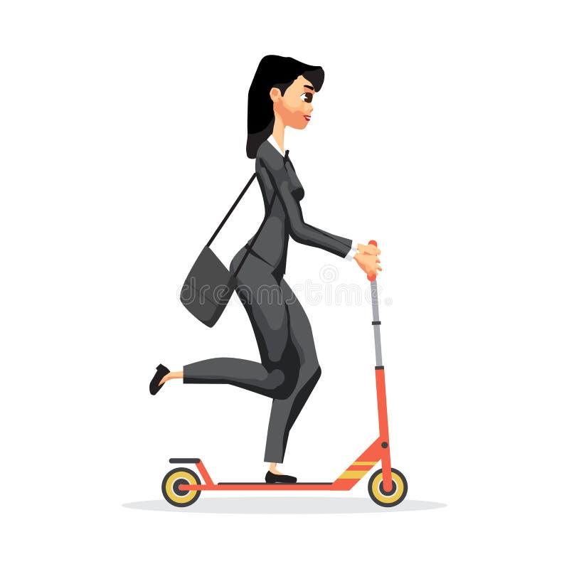 Affärskvinna på en röd sparksparkcykel Illustr för vektorlägenhetdesign vektor illustrationer