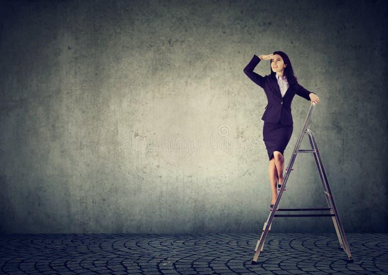 Affärskvinna på en stege som långt borta ser arkivbilder