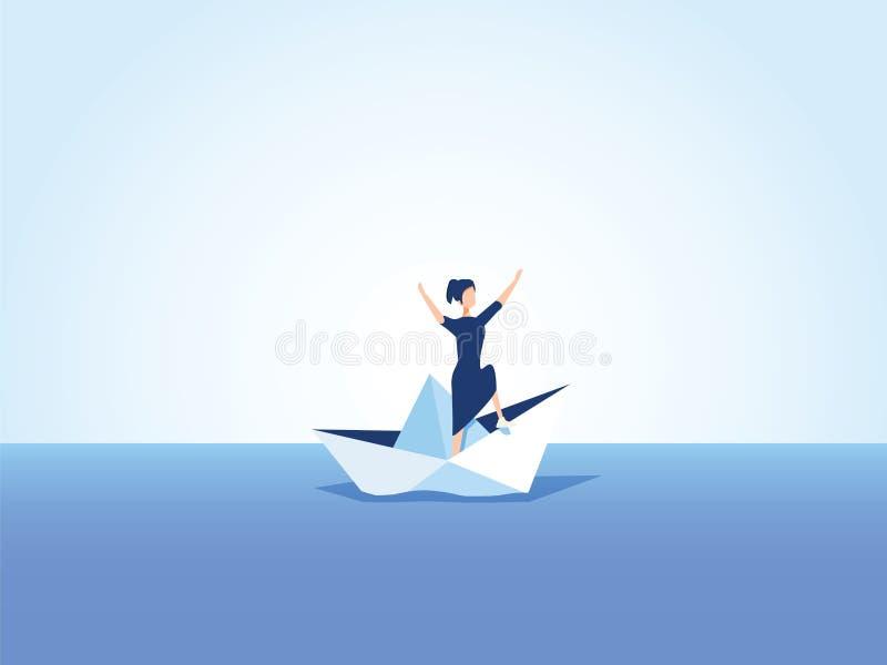 Affärskvinna på ett sjunkande skepp, pappers- fartyg Symbol av konkurs, fel men också ny början som övervinner utmaning vektor illustrationer
