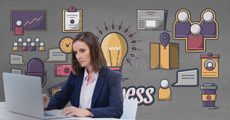 Affärskvinna på ett skrivbord genom att använda en dator mot grå bakgrund med diagram vektor illustrationer