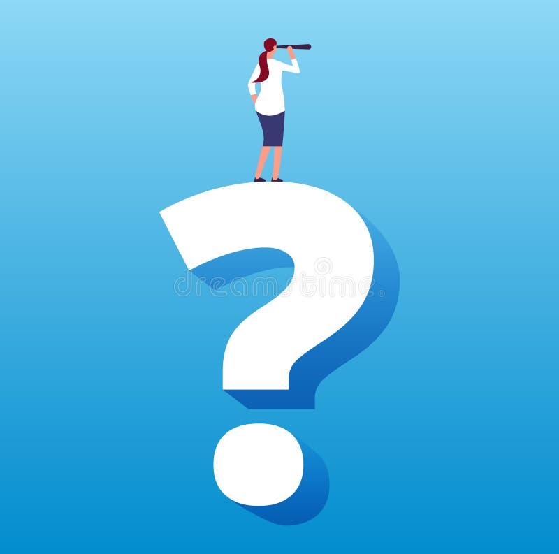 Affärskvinna på frågefläck Den okända framtida resan och det nästa beslutet, strategivalet och affären utmanar vektorn royaltyfri illustrationer