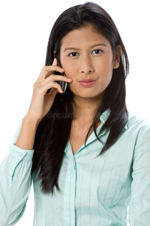 Affärskvinna på telefonen arkivbild