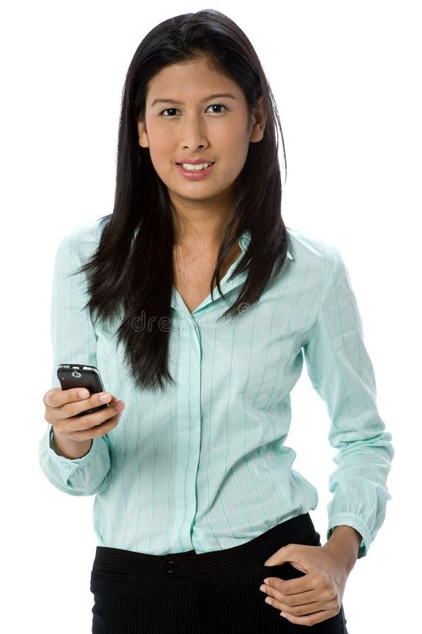 Affärskvinna på telefonen arkivfoto