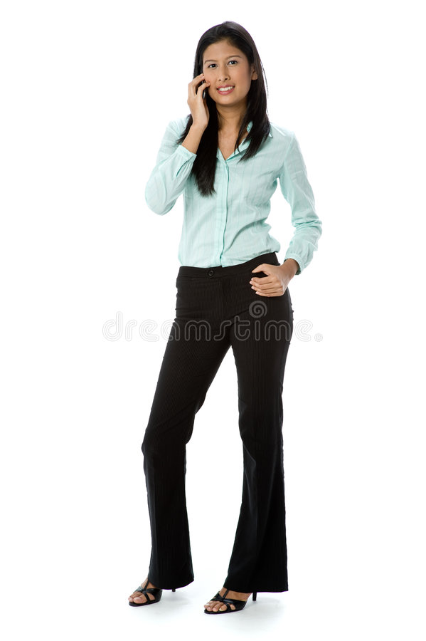 Affärskvinna på telefonen arkivfoton