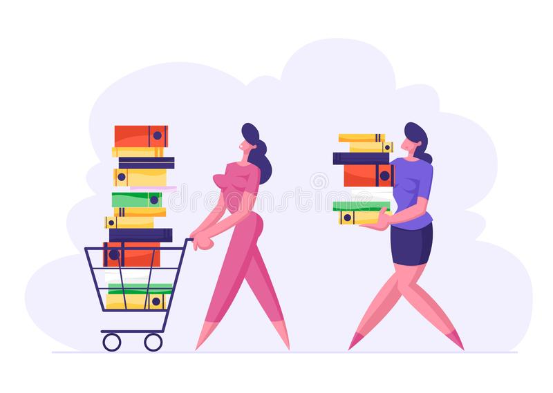 Affärskvinna Pushing Shopping Cart som är full av dokumentation Kvinna Carry Big Stack av dokumentmappar stock illustrationer