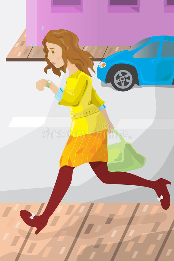 Affärskvinna sent för arbete vektor illustrationer