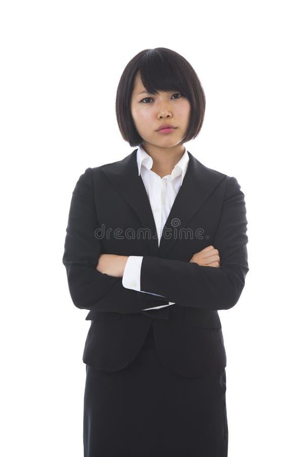 Affärskvinna som är i problem arkivfoto