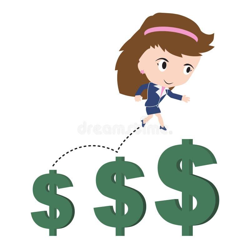 Affärskvinna som är lycklig att gå eller hoppa och rinnande upp över den växande trenden för pengardollartecken, finansiellt begr vektor illustrationer