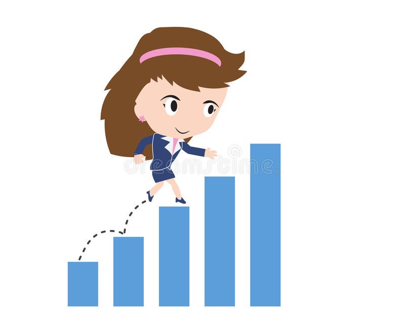 Affärskvinna som är lycklig att gå och rinnande upp över stångdiagram vektor illustrationer