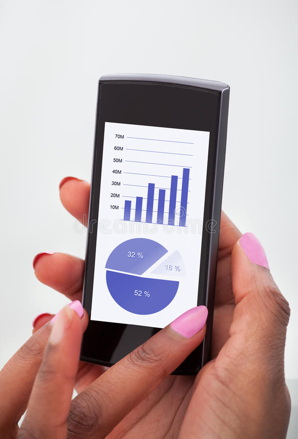 Affärskvinna som analyserar finansiella diagram arkivbild