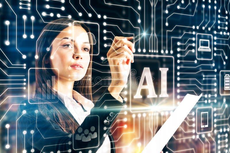 Affärskvinna som använder AI-manöverenheten royaltyfri fotografi