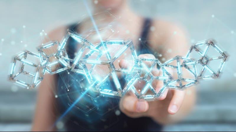 Affärskvinna som använder den digitala blåa Blockchain 3D tolkningen vektor illustrationer