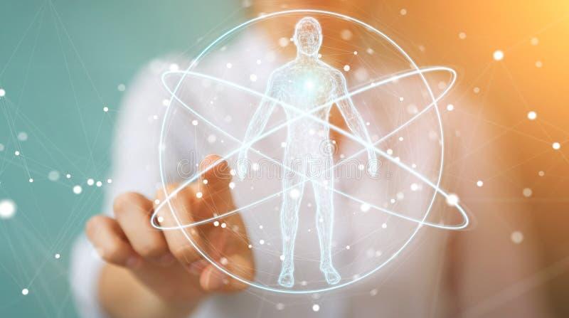 Affärskvinna som använder den digitala manöverenheten 3D r för röntgenstrålemänniskokroppbildläsning royaltyfri illustrationer