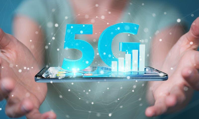 Affärskvinna som använder nätverket 5G med tolkningen för mobiltelefon 3D royaltyfri illustrationer