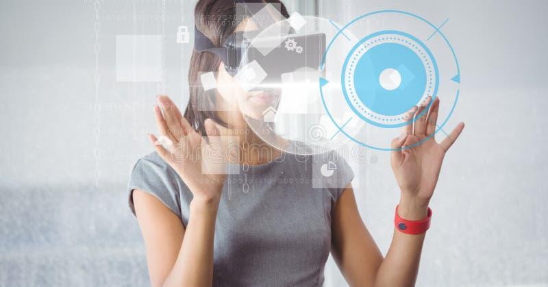 Affärskvinna som använder VR-exponeringsglas vektor illustrationer