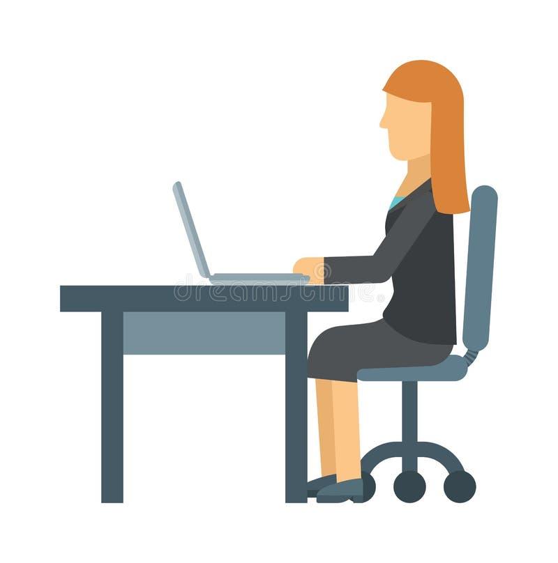 Affärskvinna som arbetar på bärbar datordatoren på kontorstabellen, affärsställedator, yrkesmässig skrivbordinrevektor vektor illustrationer