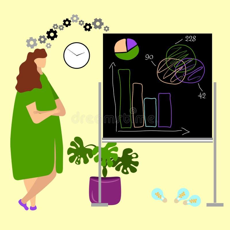 Affärskvinna som arbetar på en utövande nivå stock illustrationer