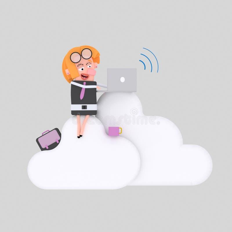 Affärskvinna som arbetar på moln 3d stock illustrationer