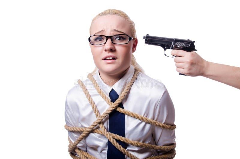 Affärskvinna som binds upp med det isolerade repet royaltyfri bild