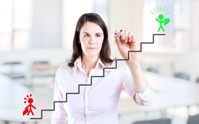 Affärskvinna som drar ett karriärstegebegrepp. fotografering för bildbyråer