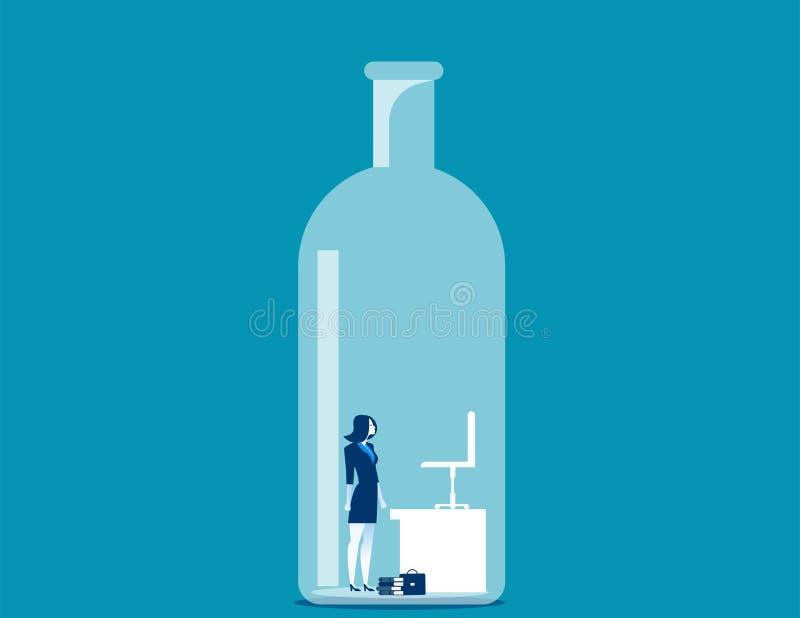 Affärskvinna som fångas i flaskan royaltyfri illustrationer
