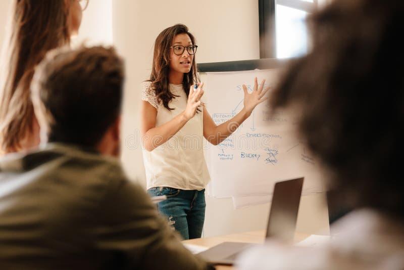 Affärskvinna som förklarar nytt plan till kollegor i konferensro arkivfoto