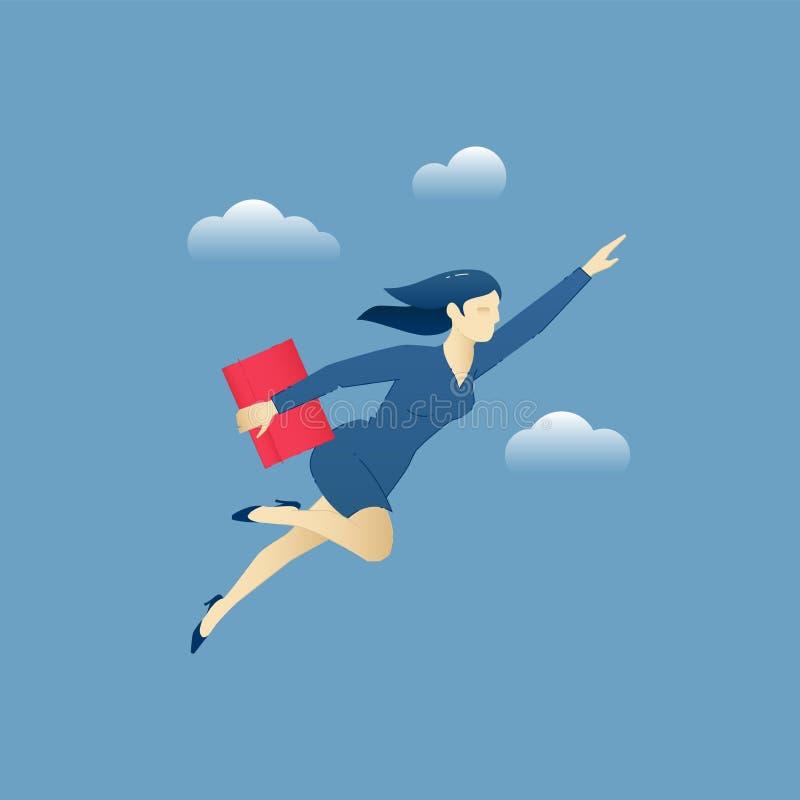 Affärskvinna som fliying till och med himlen som en superhero royaltyfri illustrationer