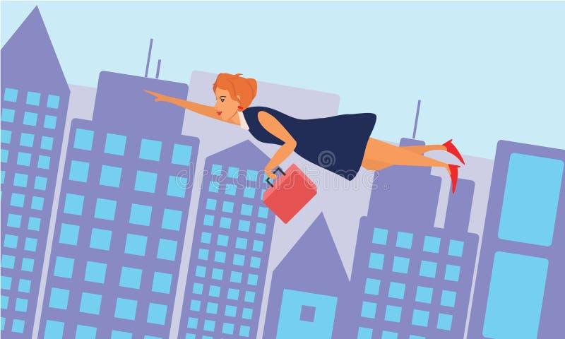 Affärskvinna som flyger över staden royaltyfri illustrationer