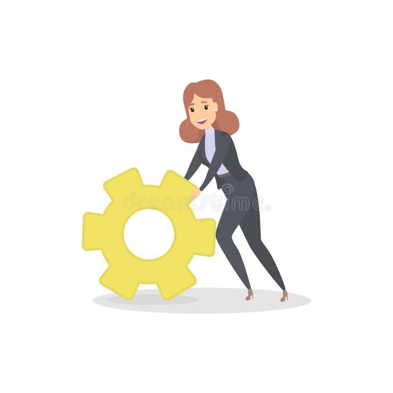 Affärskvinna som flyttar ett stort gult kugghjul royaltyfri illustrationer