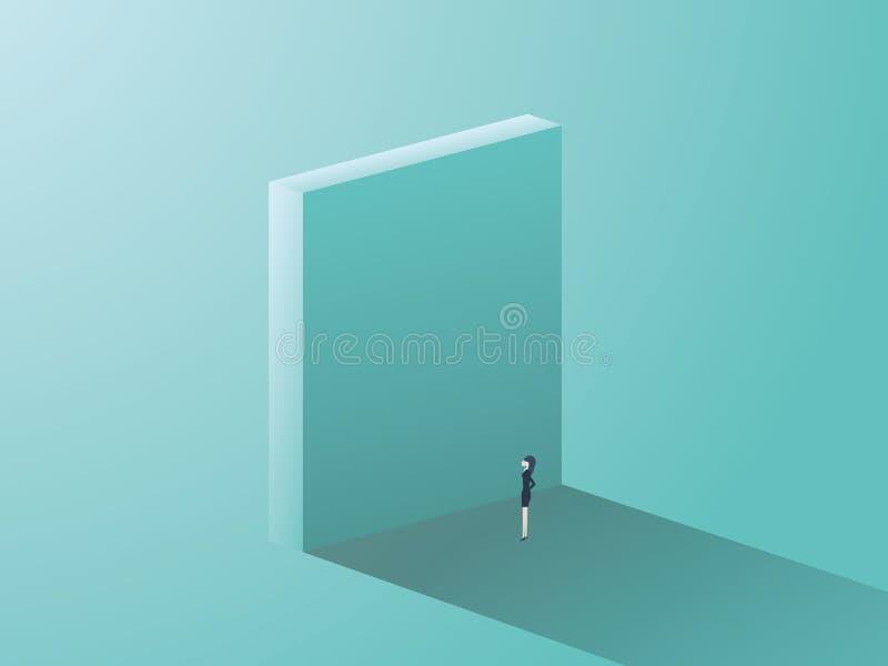 Affärskvinna som framme står av den höga väggen som ett symbol av företags genusfrågor för kvinnor Affärsutmaning och vektor illustrationer
