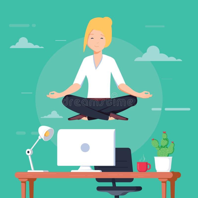 Affärskvinna som gör yoga för att lugna ner den stressiga sinnesrörelsen från hårt arbete i regeringsställning över skrivbordet m royaltyfri illustrationer