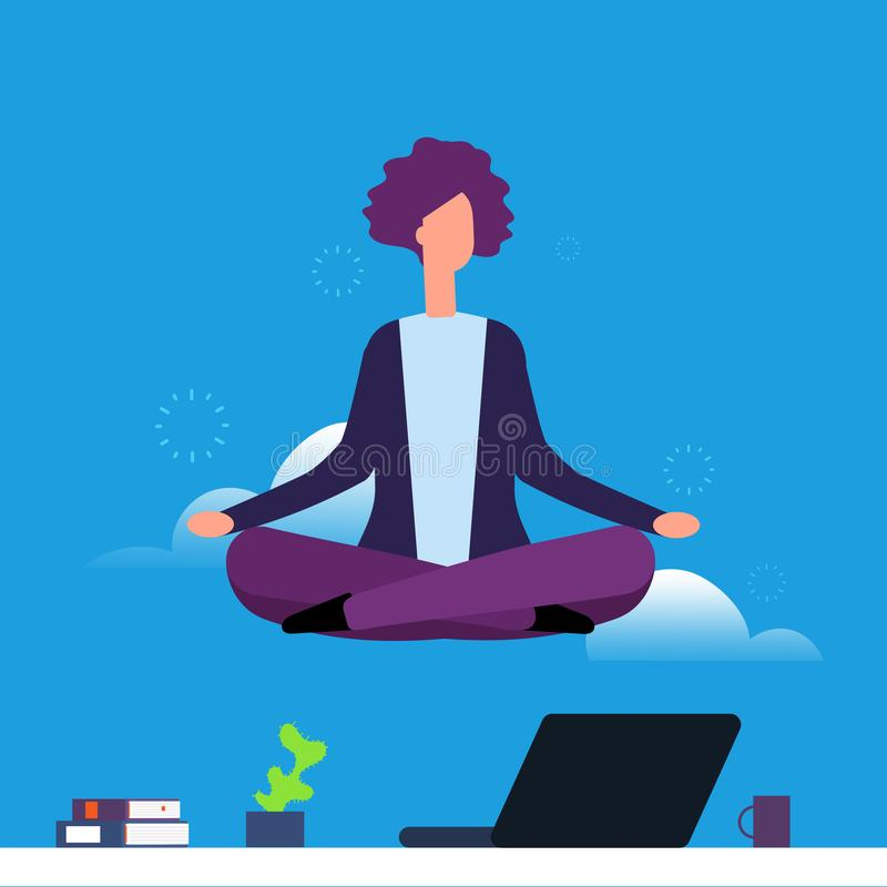 Affärskvinna som gör yoga och meditation Flickan som hänger i lotusblomma, poserar över kontorsskrivbordet stock illustrationer