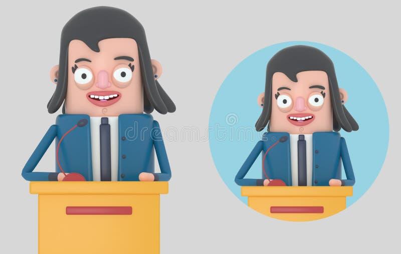 Affärskvinna som ger ett möte isolerat vektor illustrationer