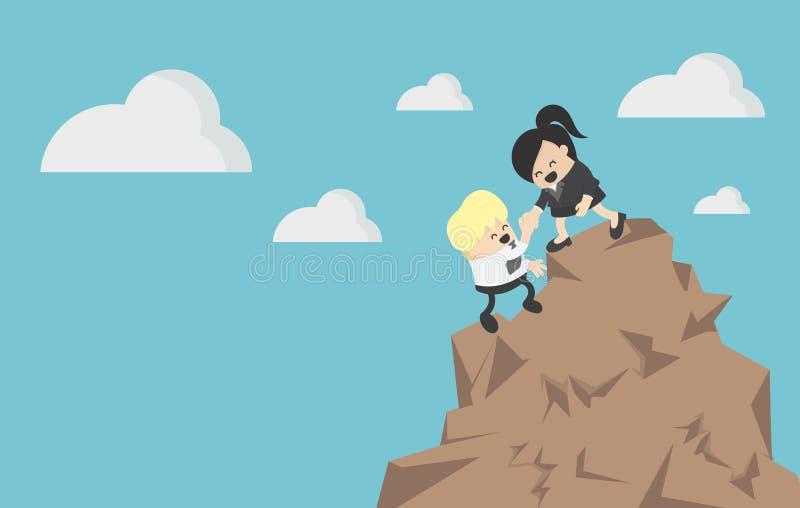 Affärskvinna som hjälper en affärsman att klättra ett berg royaltyfri illustrationer