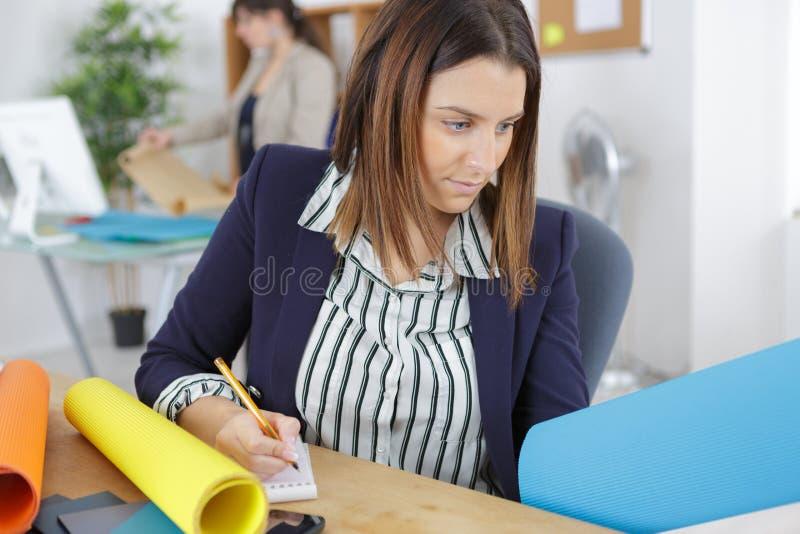 Affärskvinna som i regeringsställning arbetar på ritning arkivfoton