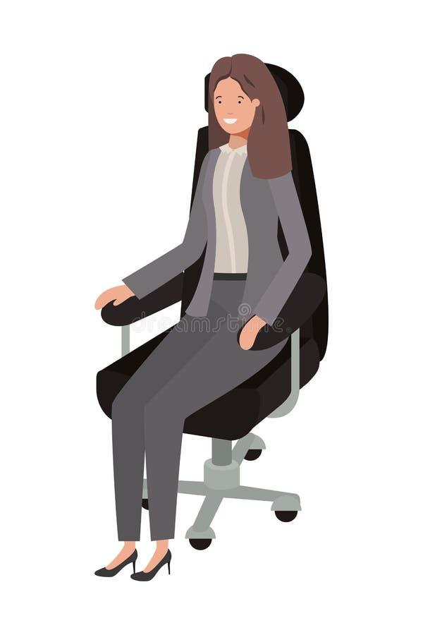 Affärskvinna som i regeringsställning sitter stolavatarteckenet royaltyfri illustrationer