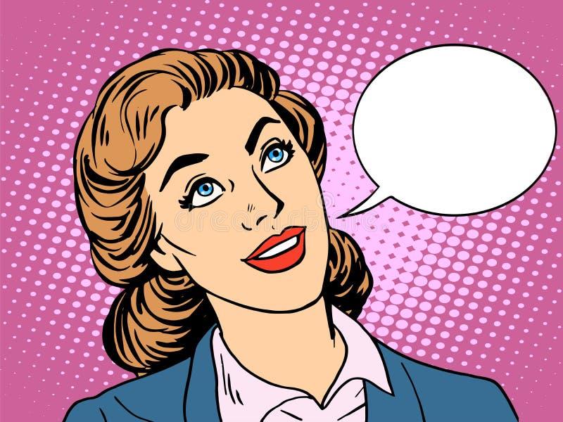 Affärskvinna som intresseras, i att meddela royaltyfri illustrationer