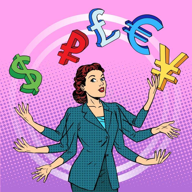 Affärskvinna som jonglerar pengaraffärsidé stock illustrationer