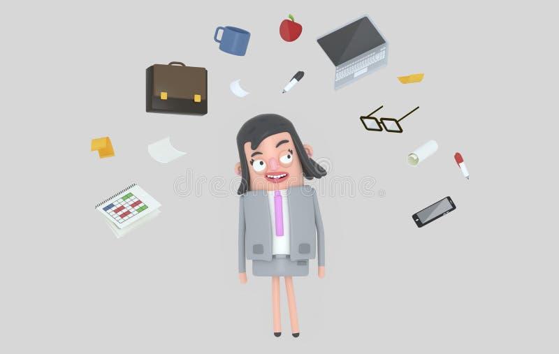 Affärskvinna som kopplar av se kontorstillbehör isolerat stock illustrationer