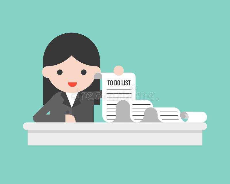 Affärskvinna som länge rymmer för att göra listapapper vektor illustrationer