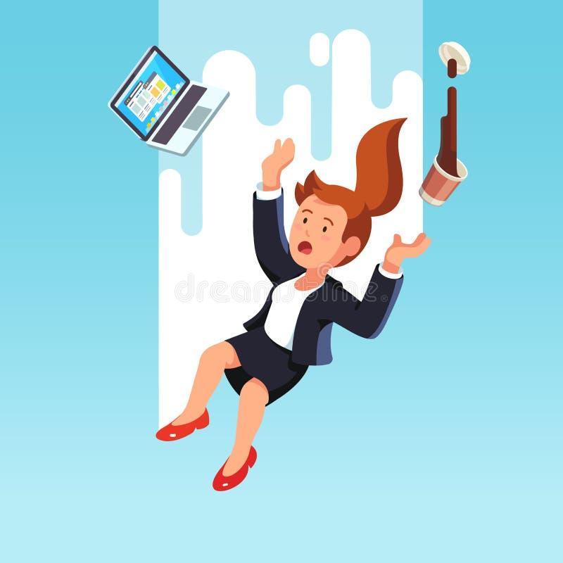 Affärskvinna som ner faller från himlen vektor illustrationer