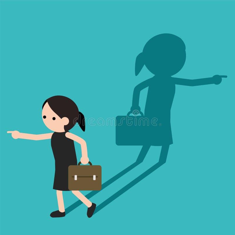 Affärskvinna som pekar andra sättet stock illustrationer