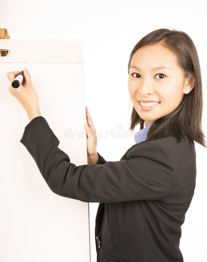 Affärskvinna som pekar på vitmellanrumsflipchart arkivbilder