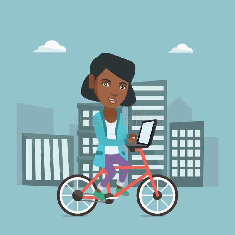 Affärskvinna som rider en cykel med en bärbar dator stock illustrationer