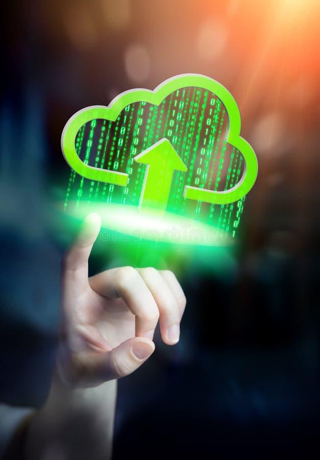 Affärskvinna som rymmer det digitala molnet i hans hand royaltyfri illustrationer