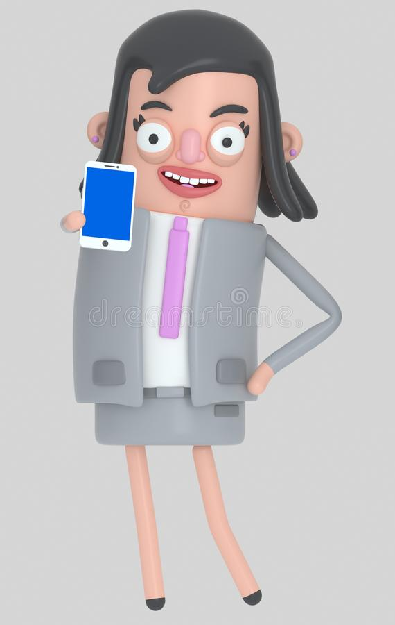 Affärskvinna som rymmer en smartphone med en blå skärm isolerat vektor illustrationer